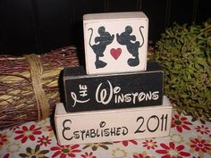 hand painted disney themed mickey mouse wooden name sign diy - blocks, gift crafts