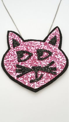 Items similar to Kitty Cat Glitter Statement Necklace on Etsy Love Is All, Take That, Cat Necklace, Free Uk, Pink Glitter, Kitty, Store, Cats, Fabric