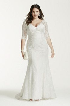 David's Bridal Woman 3/4 Sleeve All Over Lace Trumpet Gown Style 9WG3684