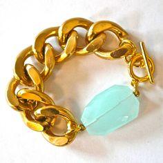 Chunky Gold Chain Link Bracelet via Oia Jules