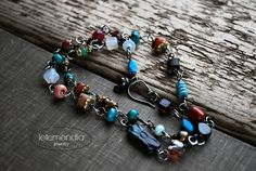 Boho Beaded Necklace Short Gemstone Necklace Colorful Stacking Wire Wrapped by Letemendia Jewelry by LetemendiaJewelry on Etsy