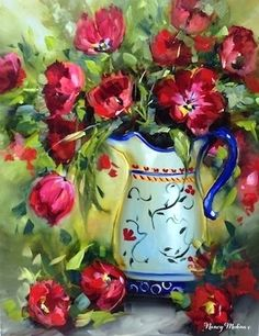 """""""Heart Song Red Tulips - Flower Painting"""" - by Nancy Medina"""