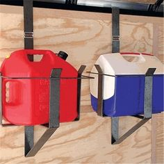 Holds round steel and rectangle plastic 5 gallon gas cans in enclosed trailers. Work Trailer, Cargo Trailer Camper, Trailer Plans, Trailer Build, Utility Trailer, Cargo Trailers, Lawn Trailer, Welding Trailer, Equipment Trailers