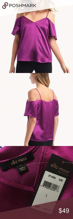 Ella Moss Izzy cold shoulder silk blend blouse NWT Brand new top from Ella Moss.   Silk blend blouse.   Color: wine.  70 percent silk/ 30 percent cotton.  Retails for $158. Ella Moss Tops Blouses