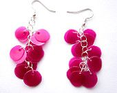 Recycled plastic bottle pink magenta earrings upcycled jewelry, eco friendly - Made to order