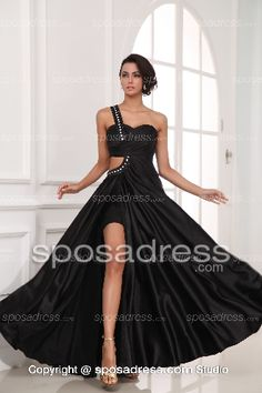 2013 Formal Sexy Black One Shoulder Beaded Elegant Prom Dress