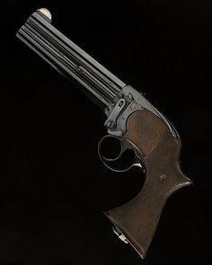 Four barrel caliber .577 Lancaster pistol, London, circa 1870's.