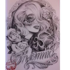 Day Of The Dead Girl, Day Of The Dead Skull, Prison Drawings, Pencil Drawings, Art Drawings, Aztec Drawing, Cool Tattoos, Awesome Tattoos, Lowrider Art