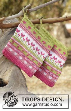 Always Spring Potholder - Knitted potholder with multi-colored pattern in DROPS Safran. - Free pattern by DROPS Design Baby Knitting Patterns, Potholder Patterns, Crochet Potholders, Knit Dishcloth, Knitting Charts, Loom Knitting, Free Knitting, Knit Crochet, Crochet Patterns