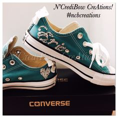210fe376d6d4 Aqua Converse for girls with name and heart! Bedazzled Converse