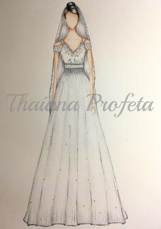 Croqui de vestido de noiva com pérolas