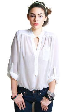 HeRe J: White Chiffon Blouse White Chiffon Blouse, Womens Fashion, How To Wear, Essentials, Rainbow, Clothes, Shopping, Tops, Rain Bow