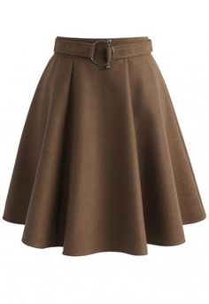 It's time you stepped out like a cover girl! This wool-blend skirt is simple yet polished enough with its neutral tan hue to help you create a sharp editorial look. Slip into a ruffled blouse, stockings, ankle boots and make a long, statement trench the final exclamation point on your look. - Belt accompany - Pleated silhouette - Concealed back zip closure - Lined - 35% Wool, 65% Viscose - Hand wash Size (cm) Length  Waist    XS             48         64      S                48         6...