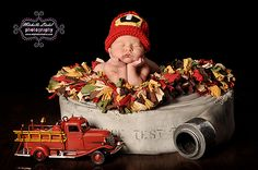 Little firefighter baby - omg we have this little truck!