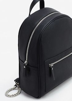 Zip pebbled solid black backpack available at keke_official✨ Cute Mini Backpacks, Stylish Backpacks, Fashion Bags, Fashion Backpack, Fashion Handbags, Back Bag, Black Leather Backpack, Girls Bags, Cute Bags