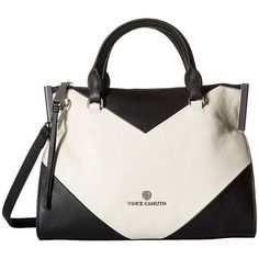 Vince Camuto Tina Small Satchel (Black/Snow White) Satchel Handbags ($208) ❤ liked on Polyvore featuring bags, handbags, zipper purse, real leather handbags, handbag satchel, leather purses and structured purse