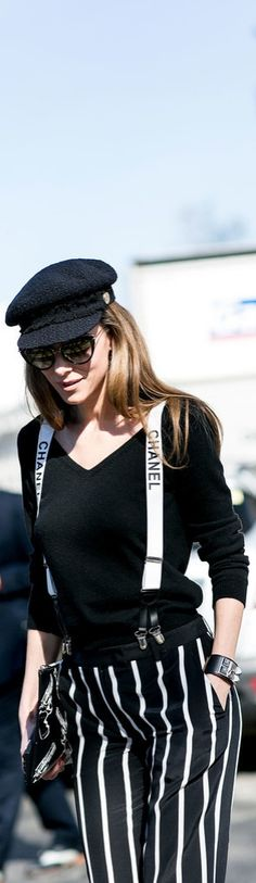 It's all about the Chanel suspenders.