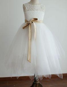 Princess Tea-length Flower Girl Dress - Lace/Tulle Sleeveless (4163514) - USD $ 59.99