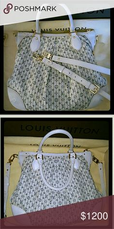 Louis Vuitton 3 in 1 Limited Edition Cruise Bag Authentic Louis Vuitton Limited Edition Cruise Denim 3 in 1 Style Handbag Crossbody bag Shoulder bag Color cream/white and navy blue Excellent condition, straps are in great shape no cracks or tear, neither the cloth...only has some small signs of wear (little dirty spot) Not very noticeable at all. Inside is clean as well Trade only for another LV bag, or Chanel (Even) Or trade Value is $1300/1500 Louis Vuitton Bags