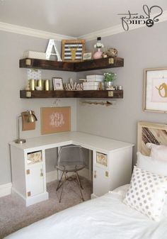 cute bedroom ideas for small rooms 4 Small Girls Bedrooms, Small Space Bedroom, Small Bedroom Designs, Small Spaces, Design Bedroom, Girl Bedrooms, Cute Bedroom Ideas, Awesome Bedrooms, Beautiful Bedrooms