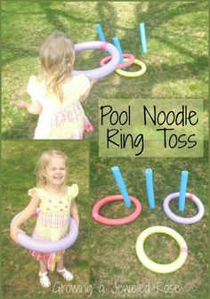 Make your own ring toss game using pool noodles- great for cook outs, Summer parties, and any day you need a fun backyard activity! by MommaJones Outdoor Games For Kids, Outdoor Play, Pool Noodle Crafts, Outside Games, Pool Noodles, Noodles Games, Carnival Games, Backyard Games, Summer Fun