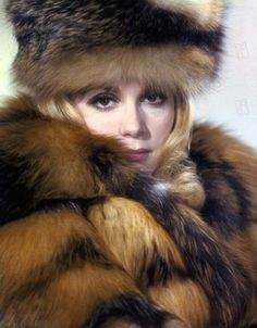 Françoise Dorléac, sister of Catherine Deneuve. Two beauties and one's the fur.