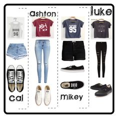 """5SOS preference???"" by heyitscj5sos ❤ liked on Polyvore featuring H&M, Pieces, Converse, Vans, 5sos, 5secondsofsummer and 5sosoutfits"