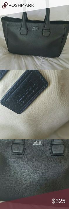 """Armani Collezioni Tote Bag Carried One Time.  Gift from cheating bf --- must go!  No wear inside or out, and dust bag included.  Bovine leather with cotton lining.  Zip top closure with one zip top pocket inside.    Measures: 16""""(L) × 11""""(H) × 6""""(D)  The leather is soft and still smells delicious.  Offers considered!  Not interested in trading. Armani Collezioni Bags Shoulder Bags"""