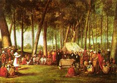 In September 1838,859 Potawatomi Indians were forced from their homeland near Plymouth, Indiana and made to march 660 miles to present-day Osawatomie, Kansas. At gunpoint, the tribe began the march on September 4, 1838. During the two month journey, 42 members of the tribe, mostly children, died of typhoid fever and the stress of the forced removal. When they arrived in Osawatomie, Kansas on November 4, 1838, there were only 756 of the tribe, as many had also escaped along the journey.