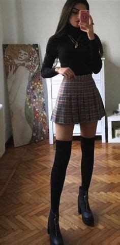Cute Skirt Outfits, Swaggy Outfits, Cute Casual Outfits, Stylish Outfits, Outfit With Skirt, School Skirt Outfits, Cute Goth Outfits, Cute Skirts, Plaid Skirts