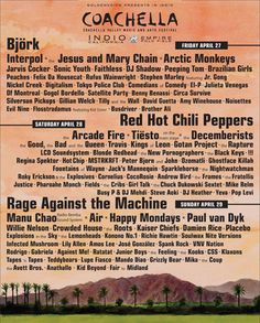Line-up poster for 2007 Coachella Music and Arts Festival. My 1st Year of Coachella!!!