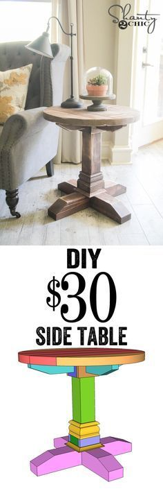LOVE this $30 Side Table! Free plans and tutorial by www.shanty-2-chic.com!