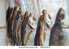 dried river fish hanging on a rope
