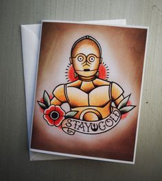 Star Wars Themed Tattoo Flash Note Cards von ParlorTattooPrints