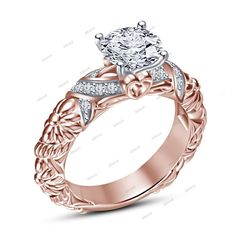 1.00 CT.T.W 14k Rose Gold Plated 925 Silver Simulated Diamond RD Solitaire Ring  #affoin8