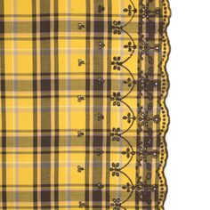 Daffodil Yellow Plaid Cotton Twill with Floral Eyelet Border