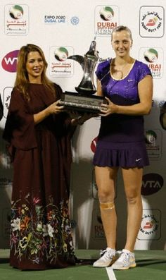 (L-R) Princess Haya Bint Al-Hussein and Petra Kvitova of the Czech Republic poses with the winner's trophy and after her women's singles final match against Sara Errani of Italy during the WTA Dubai Tennis Championships, 23 Feb 2013