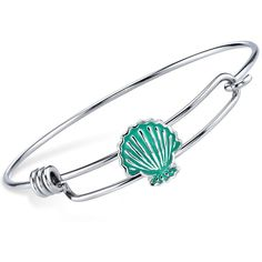 Disney Little Mermaid Enamel Shell Bangle Bracelet in Sterling Silver... ($26) ❤ liked on Polyvore featuring jewelry, bracelets, accessories, silver, shell bangles, disney jewelry, enamel bangle, bangle bracelet and stainless steel bangle bracelet