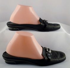 COLE HAAN NIKE AIR Women's Black Leather Mules 7 medium USED #ColeHaan #Mules