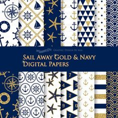 Sail Away Gold & Navy / Nautical Digital Paper Pack  Instant