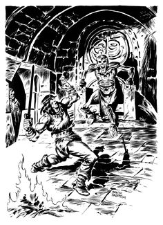 Sprague de Camp and Lin Carter starring the fictional sword and sorcery hero Conan te Cimmerian. THE THING IN THE CRYPT Savage Worlds, Dnd Art, Conan The Barbarian, Sword And Sorcery, Fantasy Artwork, Dungeons And Dragons, Old School, Deviantart, Adventure