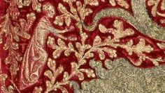 detail - heraldic Leopard embroidery, early 1300s. Used as a chasuble, it is thought it was originally used as a horse-covering by Edward III (1330-40)