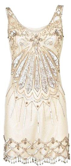 Ivory Art Deco Flapper Dress.