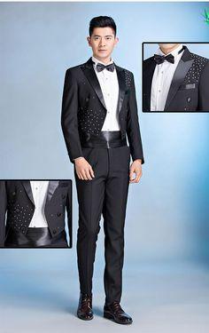 100%real mens black/white rhinestone beading tuxedo swallowtail performance jacket/party/stage performance/jacket &pants&bowtie