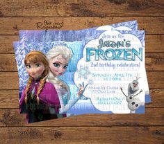 Frozen Invitation Frozen Invitations, Custom Birthday Invitations, Ice Castles, Disney Frozen, All Design, 2nd Birthday, Unique Jewelry, Handmade Gifts, Etsy