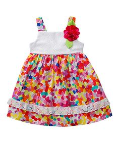 This White & Rainbow Dress - Infant, Toddler & Girls by Youngland is perfect! #zulilyfinds