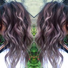 Black and gray or lilac haircolor. Balayage. Beautiful. Beach waves. Curls.