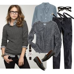 Geeky Casual + Chambray + Sweater + Glasses + Shoes + Wristwatch / Watch + Fall / Autumn
