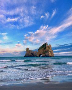 Wharariki Beach, New Zealand by Laurie Winter (@laurie_winter) on Instagram: #elephantrockNZ