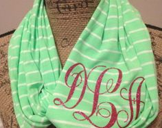 Jersey  knit striped infinity scarf with glitter monogram